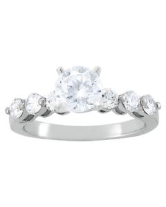 Engagement Ring - 14K White Gold - Single Row - Prong Set - Style 50422-E