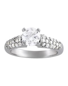 Engagement Ring - 14K White Gold - Pave - Style 50466-E