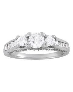 Engagement Ring - 14K White Gold - 3 Stone - Round - Style 50470-E