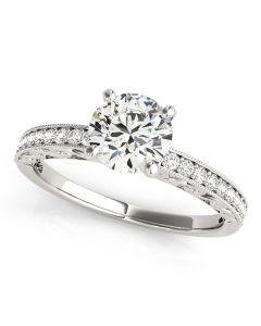 Engagement Ring - 14K White Gold - Antique - Single Row - Prong Set - Style 50471-E