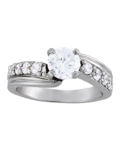 Engagement Ring - 14K White Gold - Bypass - Style 50499-E