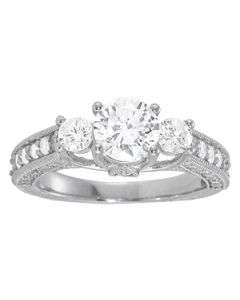Engagement Ring - 14K White Gold - 3 Stone - Round - Style 50509-E