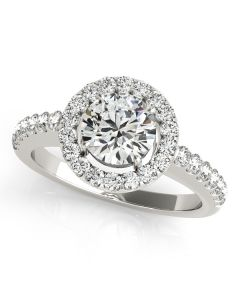 Engagement Ring - 14K White Gold - Halo - Round - Style 50530-E