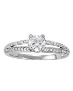 Engagement Ring - 14K White Gold - MultiRow - Style 50542-E