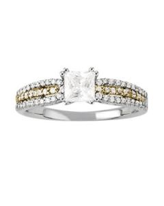 Engagement Ring - Two Tone - MultiRow - Style 50543-E