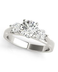 Engagement Ring - 14K White Gold - 3 Stone - Round - Style 50573-E