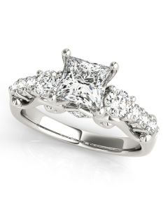Engagement Ring - 14K White Gold - 3 Stone - Round - Style 50583-E
