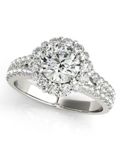 Engagement Ring - 14K White Gold - Halo - Round - Style 50594-E