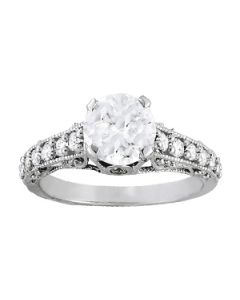 Engagement Ring - 14K White Gold - Antique - Single Row - Prong Set - Style 50605-E