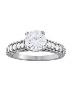 Engagement Ring - 14K White Gold - Antique - Single Row - Prong Set - Style 50606-E