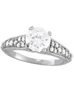 Engagement Ring - 14K White Gold - Antique - Style 50607-E