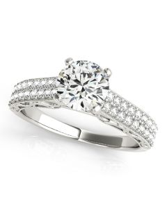 Engagement Ring - 14K White Gold - Antique - Style 50618-E