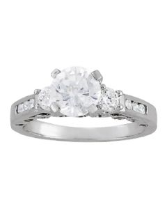 Engagement Ring - 14K White Gold - 3 Stone - Round - Style 50619-E