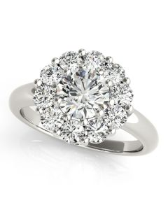 Engagement Ring - 14K White Gold - Halo - Round - Style 50630-E