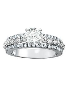 Engagement Ring - 14K White Gold - MultiRow - Style 50637-E