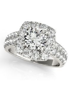 Engagement Ring - 14K White Gold - Halo - Round - Cushion - Square - Square & Cushion - Style 50657-E