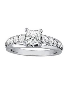 Engagement Ring - 14K White Gold - Single Row - Prong Set - Trellis - Style 50773-E