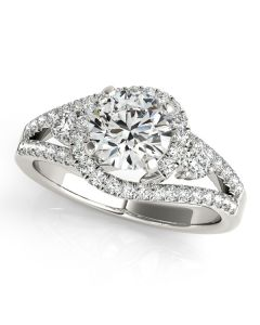 Engagement Ring - 14K White Gold - MultiRow - Bypass - Style 50783-E