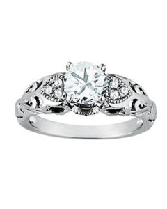 Engagement Ring - 14K White Gold - Antique - Cluster Sides - Cluster - Style 50794-E