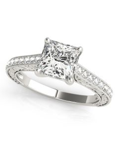 Engagement Ring - 14K White Gold - Single Row - Prong Set - Trellis - Style 50799-E