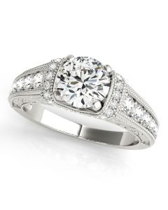 Engagement Ring - 14K White Gold - Antique - Style 50802-E