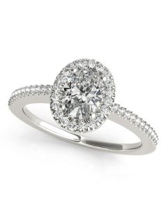 Engagement Ring - 14K White Gold - Halo - Oval - Style 50816-E