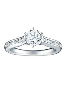 Engagement Ring - 14K White Gold - Single Row - Channel Set - Style 50837-E