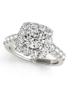Engagement Ring - 14K White Gold - Halo - Round - Style 50897-E