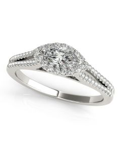 Engagement Ring - 14K White Gold - Halo - Marquise - Style 50902-E