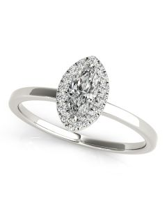Engagement Ring - 14K White Gold - Halo - Marquise - Style 50909-E