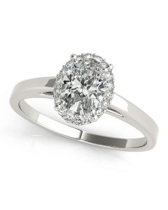 Engagement Ring - 14K White Gold - Halo - Oval - Style 50916-E