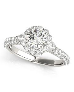 Engagement Ring - 14K White Gold - Pave - Halo - Round - Style 50934-E