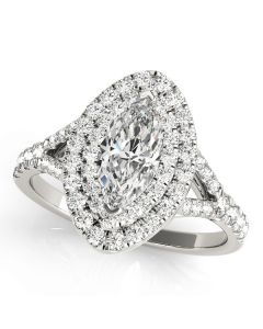 Engagement Ring - 14K White Gold - Halo - Marquise - Style 50949-E