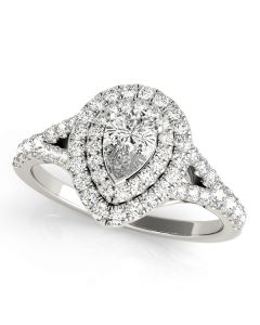 Engagement Ring - 14K White Gold - Pear & Trillion - Halo - Pear - Style 50950-E