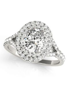 Engagement Ring - 14K White Gold - Halo - Oval - Style 50953-E