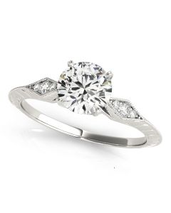 Engagement Ring - 14K White Gold - Antique - Style 50971-E