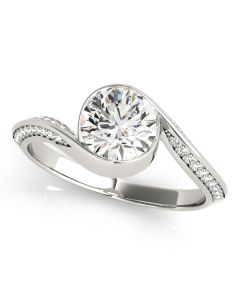 Engagement Ring - 14K White Gold - Bypass - Style 50973-E