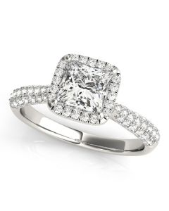 Engagement Ring - 14K White Gold - Pave - Halo - Cushion - Square - Square & Cushion - Style 51010-E