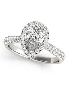 Engagement Ring - 14K White Gold - Pear & Trillion - Halo - Pear - Style 51014-E