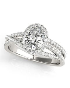 Engagement Ring - Two Tone - MultiRow - Halo - Oval - Style 51019-E