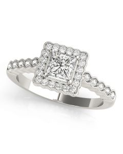 Engagement Ring - 14K White Gold - Antique - Halo - Cushion - Square - Square & Cushion - Style 51024-E
