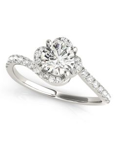 Engagement Ring - 14K White Gold - Bypass - Halo - Round - Style 51030-E