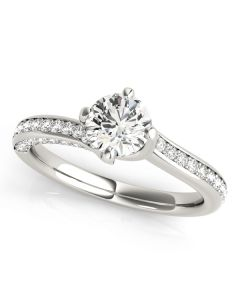 Engagement Ring - 14K White Gold - MultiRow - Bypass - Style 51038-E