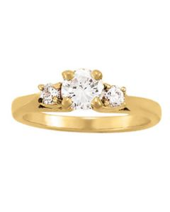 Engagement Ring - 14K Yellow Gold - 3 Stone - Round - Style 80767