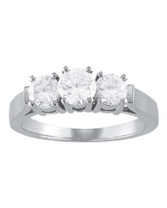 Engagement Ring - 14K White Gold - 3 Stone - Round - Style 81977