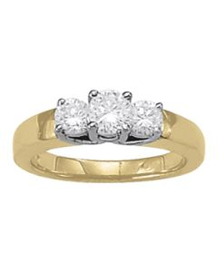 Engagement Ring - Two Tone - 3 Stone - Round - Style 82386