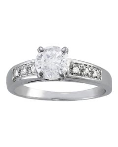 Engagement Ring - 14K White Gold - Single Row - Channel Set - Style 82418