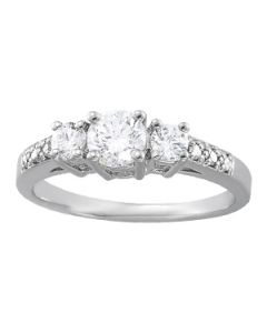 Engagement Ring - 14K White Gold - 3 Stone - Round - Style 82440