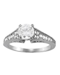 Engagement Ring - 14K White Gold - Antique - Style 82781