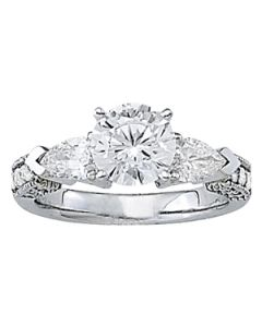 Engagement Ring - 14K White Gold - 3 Stone - Pear - Style 82843